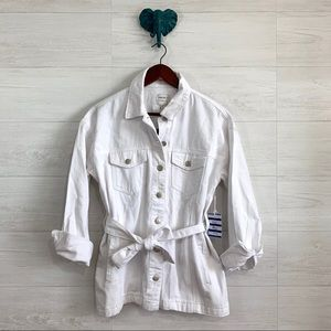 Forever 21 Small White Denim Button Down Jacket
